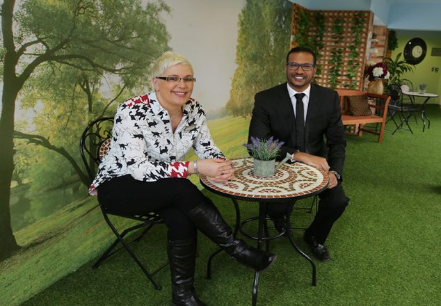Feature on Regency Manor Care Home in Parkstone which has been rated as one of the country's top one per cent of care homes.  Care home manager Sam Hoskins and Managing Director of the LuxuryCare Group, Kevin Gunputh in the indoor green space.
